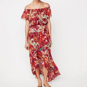 NEW Express Floral Off The Shoulder Maxi Dress RED